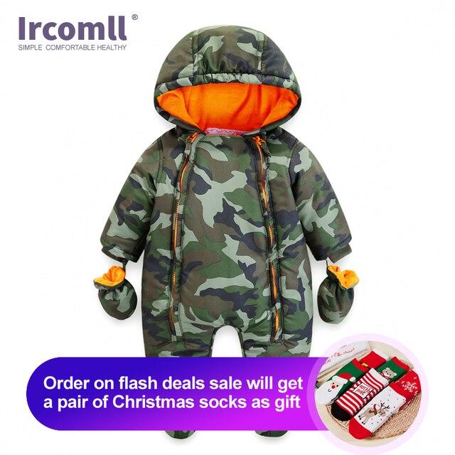 Ircomll 2019 יילוד תינוק Rompers חורף עבה חם ילד תינוק בנות בני תינוקות בגדי Camo פרח סלעית סרבל ילדים להאריך ימים יותר