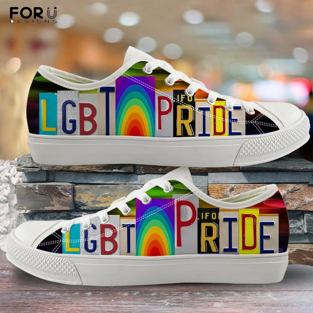 FORUDESIGNS Lgbt Pride Rainbow Printed Girls Casual Low Top Canvas Shoes Spring/Autumn Lace Up Sneakers Lightweight Flats Shoes