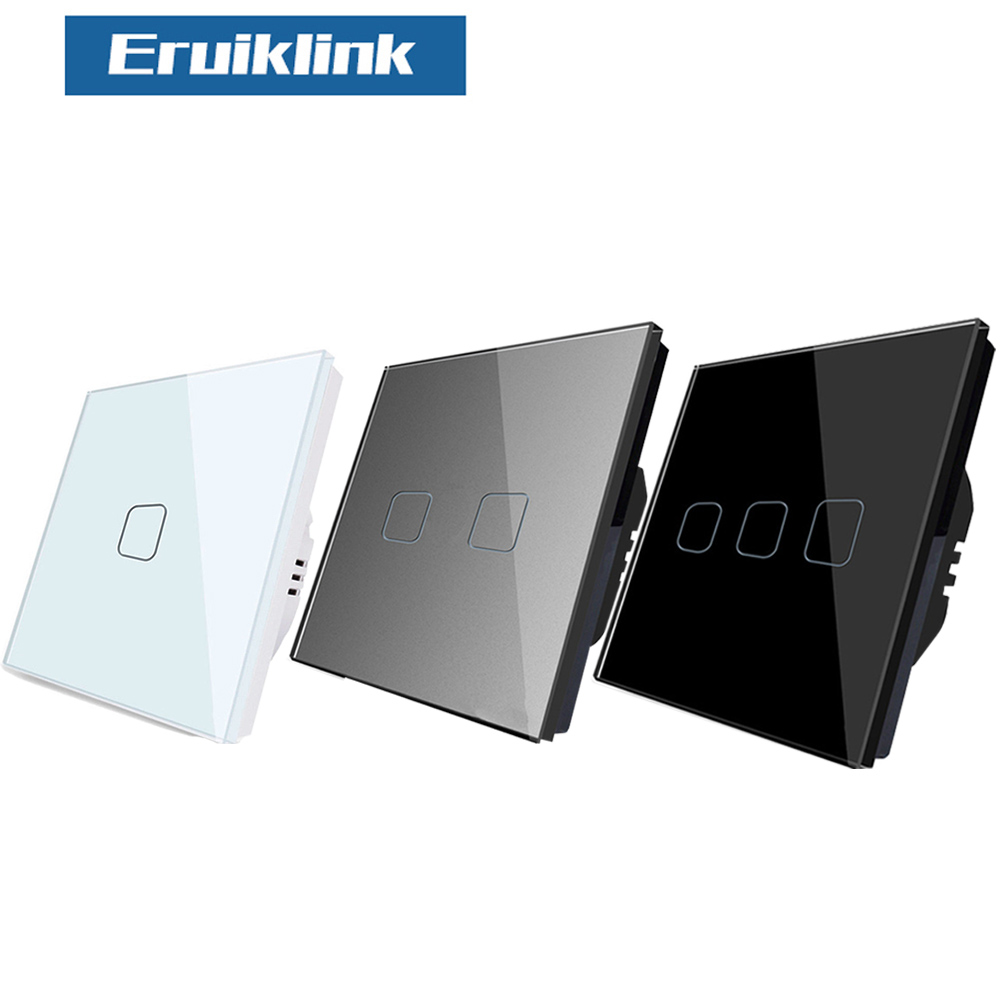 EU Standard  Touch Switch , Crystal Glass Panel 1 Gang 1 Way Touch Switch , AC220V EU Light Wall Touch Screen Switch