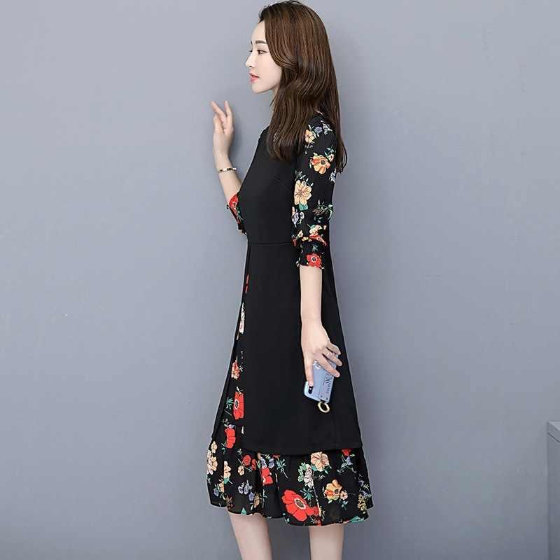 Nouveau 2020 printemps automne robe de grande taille femmes élégant à fleurs en mousseline de soie robe de mode à manches longues robe de fête Vestidos 0655