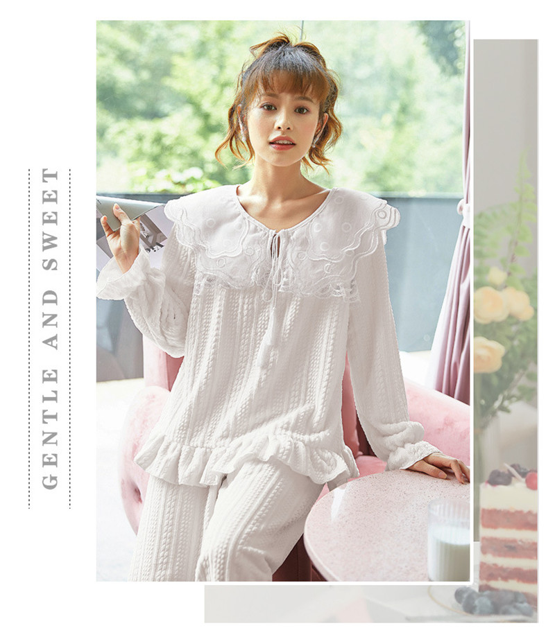 JULY'S SONG Flannel Women Pajama Sets Sleepwear Air Cotton Winter Pajamas Thick Warm Lace Long Sleeves Full Trousers Homewear 41