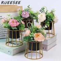 Künstliche blumen Set rose Nordic einfache goldene eisen topfpflanzen home wohnzimmer esstisch floral