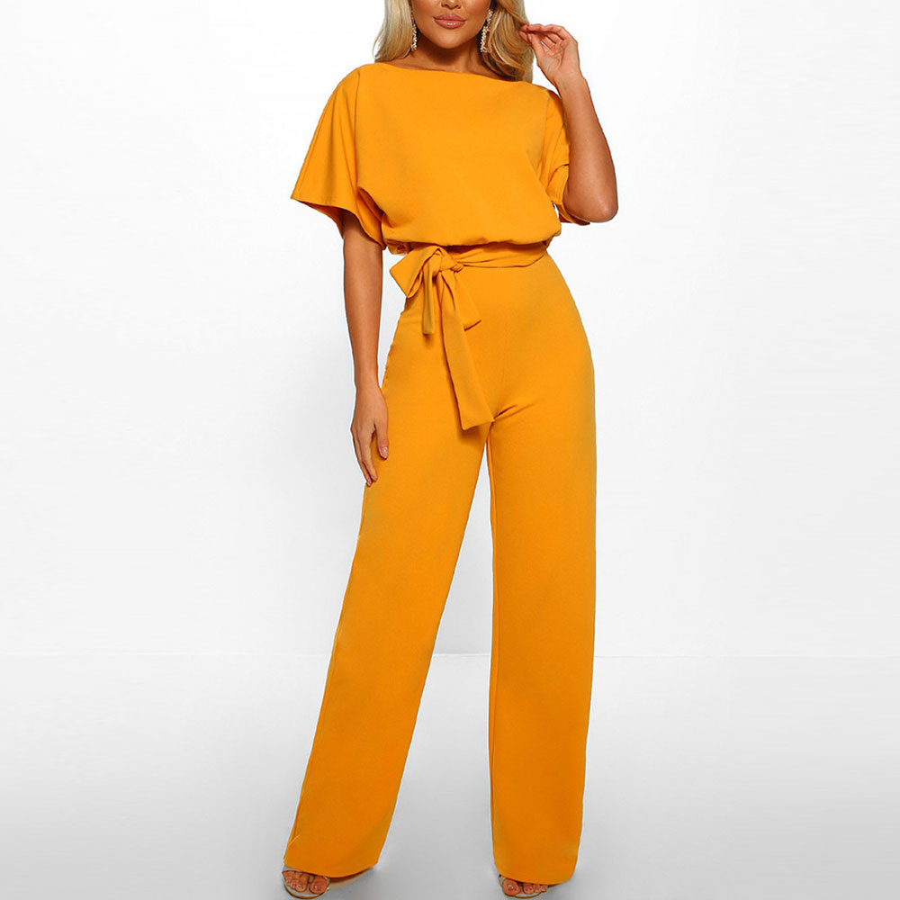 Jocoo Jolee Summer Chiffon Jumpsuit Casual Solid Short Sleeve Wide Leg Jumpsuits With Belt Plus Size 3XL Overalls Rompers 2020