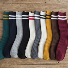 Women Cotton Socks Casual Striped Pattern Crew Socks Female Solid Color Black White 10 Types Sock 1 Pack