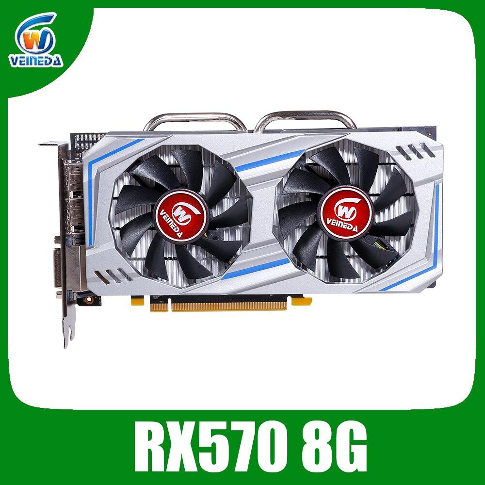 Veineda carte vidéo RX 570 8GB 256Bit GDDR5 1244/7000MHz carte graphique pour nVIDIA Geforce Games rx 570