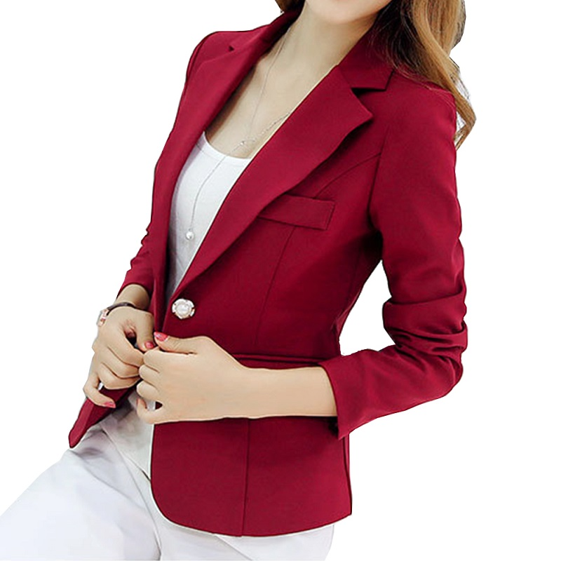 Button Single Blazer Femme Office Lady Formal Long Sleeve Autumn Winter Notched Blazer Feminino Abrigo Mujer Coat