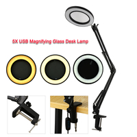 5X USB Magnifying Glass With LED Light Flexible Table Clamp Third Hand Soldering/Reading/Jewelry Magnifier Desk Lamp