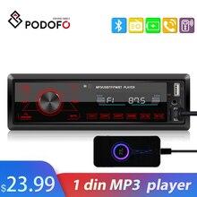 Podofo 1din in dash rádios de carro estéreo controle remoto digital bluetooth áudio música estéreo rádio do carro mp3 player com 2 porta usb