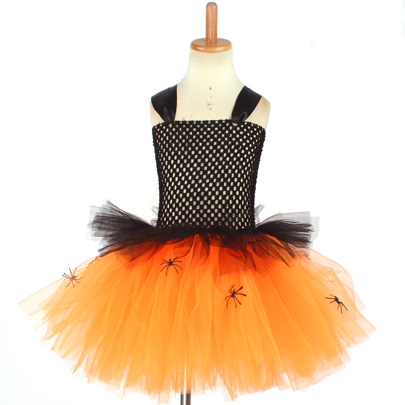 Spider Girls Witch Tutu Dress with Hat Black Purple Children Halloween Carnival Cosplay Witch Costume Kids Party Fancy Dresses (8)