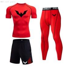 Verão correndo camiseta homens gym leggings compressão esportiva equipado sweatsuit secagem rápida roupa de treino curto conjunto de jogging