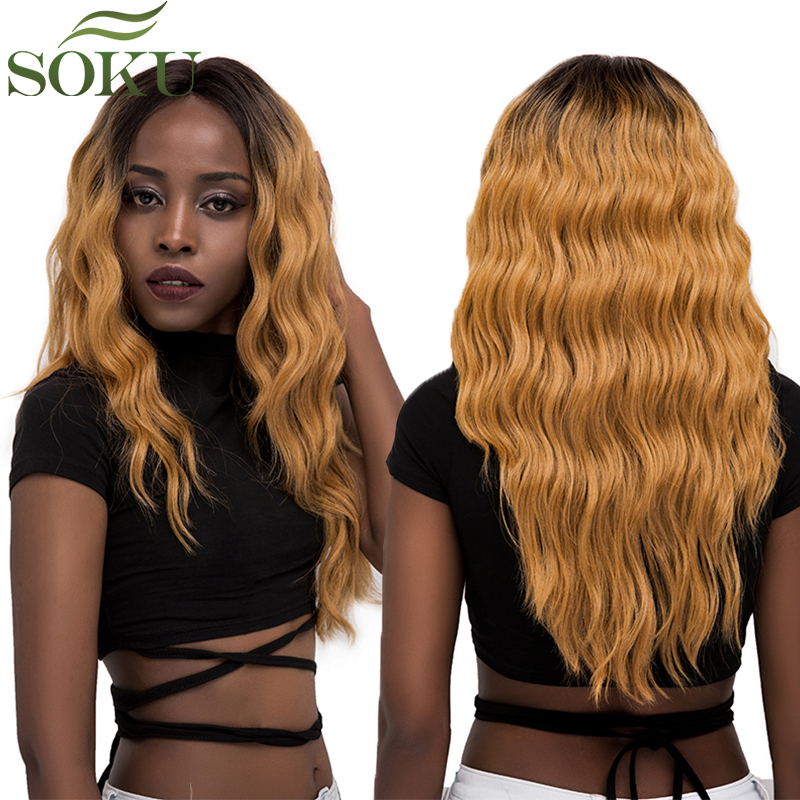 Wigs Lace-Front Synthetic Ombre GT4/GOLD Blonde Middle-Part Wavy Women for -Long 150%Density