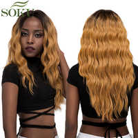 Pelucas frontales de encaje sintético Ombre para mujeres GT4/GOLD # pelucas de encaje ondulado largo parte media frontal de encaje peluca 150% densidad