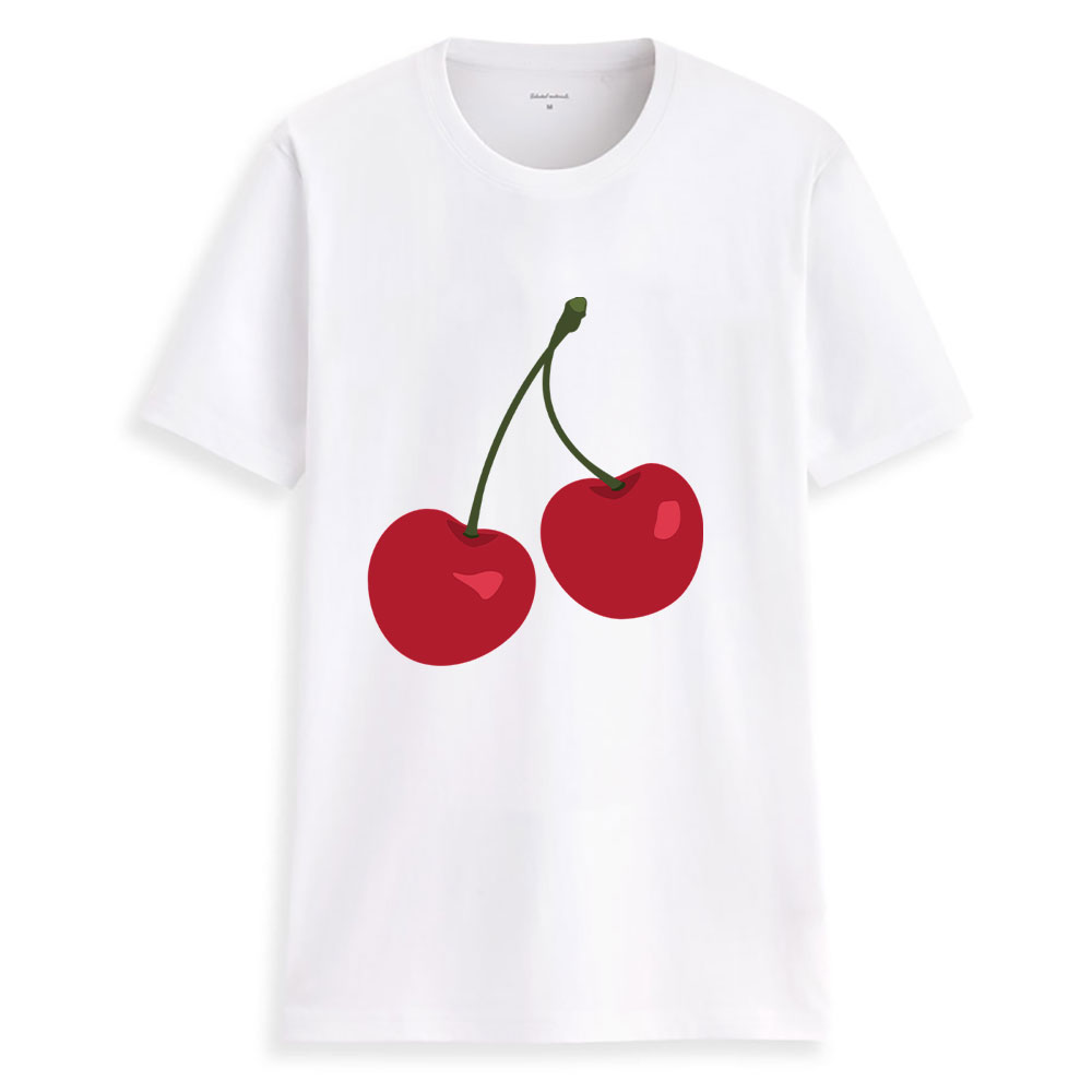 Hillbilly 2019  Women Cherry Print T Shirt Short Sleeve O Neck Ladies Tops Charajuku Hipster Tumblr Tee T-shirt Camisa Feminina