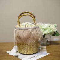 Bamboo Handle Pink Fire Feather Willow Rattan Woven Basket Drum Bag Handbag Bags