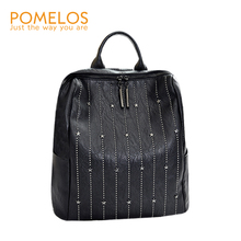 POMELOS 2019 new fashion soft backpack women back bag high quality split leather travel rivet decoration
