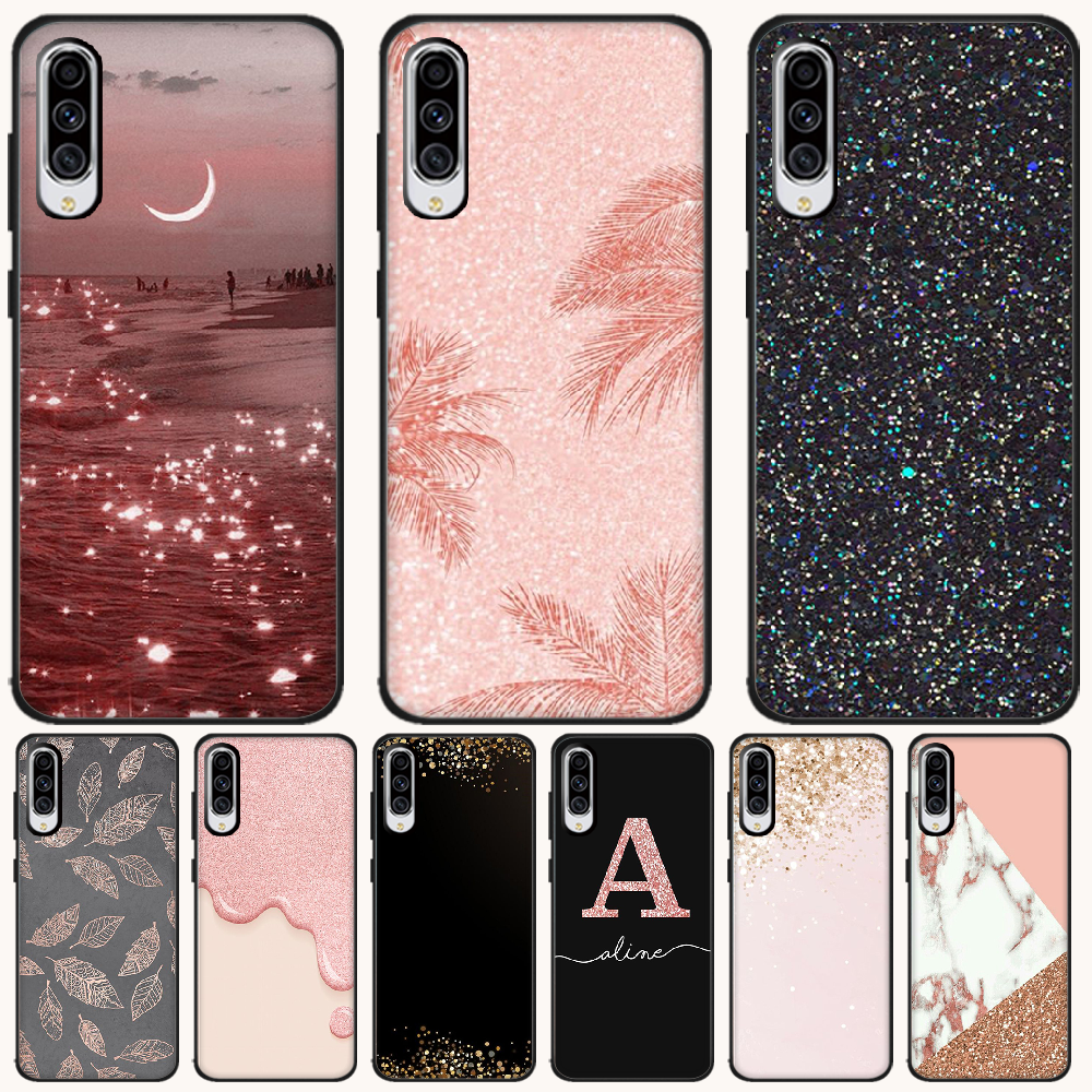 Byloving Emas Mawar Glitter Hitam Lembut Shell Ponsel Case Capa untuk Samsung A10 20 30 40 50 70 10S 20S 2 Core C8 A30S A50S