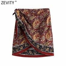 Zevity mulheres vintage totem flor impressão hem irregular sarong saia faldas mujer lado feminino laço amarrado retro tribunal vestidos qun767