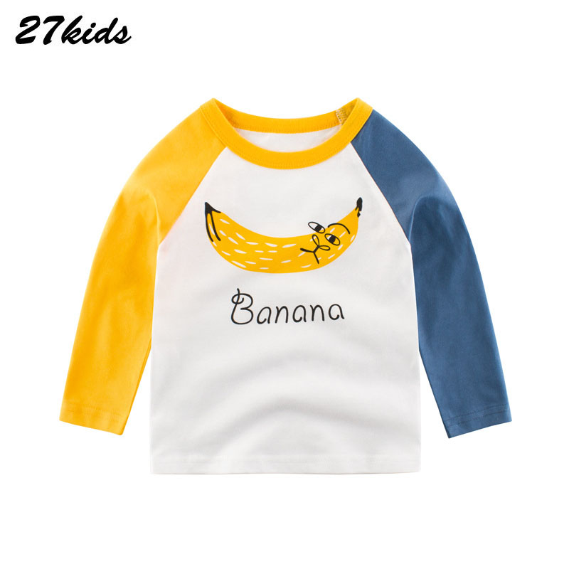 27Kids  Banana Printed T Shirt For Boy Cotton Kids T-shirts Spring Autumn Children Long Sleeve T Shirts For Boys O-neck Tops