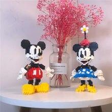 Disney bonito dos desenhos animados anime mickey minnie diy mini blocos de construção tijolos figuras ação modelo crianças brinquedos juguetes presentes
