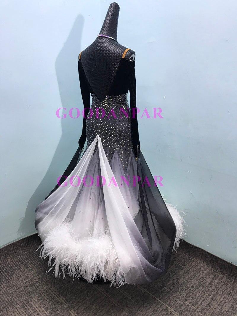 ballroom dance dress  ballroom dance competition dresses gray gradient Modern Waltz Tango Dance Dress ostrich feather dress