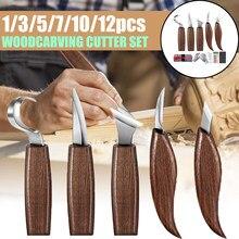 Cincel para cortar madera, juego de herramientas de mano para Cuchilla de talla de madera, tallado en madera, cortador para esculpir, 1/3/5/7/10/12 Uds.