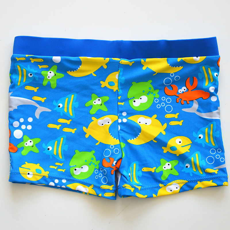 2020 New Style KID'S Swimwear Baby Infants Small Children Boy Blue Cartoon Fish Swimming Boxer Lace-up Swimming Trunks
