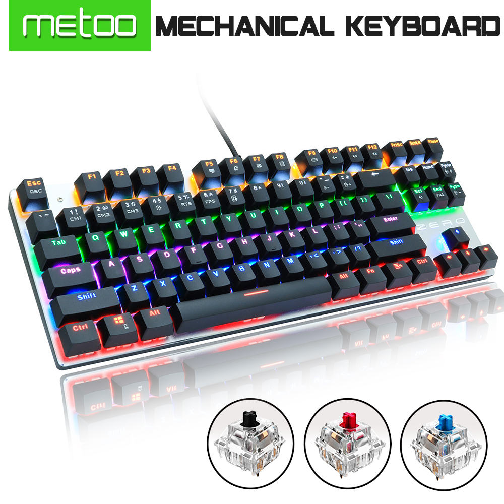 Metoo Gaming Mechanical Keyboard Blue/Red/black Switch Anti-ghosting USB Wired LED Keyboard Russian/English For Laptop PC Gamer