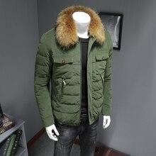 Зимняя мужская куртка в японском стиле с несколькими карманами из вельвета с большим меховым воротником