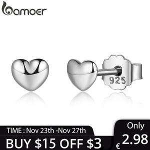 [Coupon $15 OFF $3] BAMOER 100% 925 Sterling Silver Petite Plain Hearts Stud Earrings for Women Silver brincos PAS441