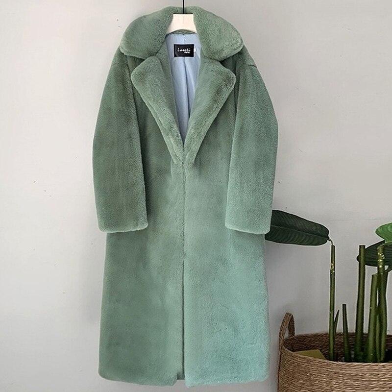 Sztuczne futro królika reks damska długa kurtka Faux pluszowe pokryte Botton jesienno-zimowa 2020 damska odzież wierzchnia Furry elegancka