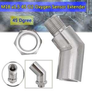 Image 1 - M18 x1.5 O2 Oxygen Sensor Boss Extender Spacer 45/90 Degree Lambda Sensor Oxygen Sensor Silver For Decat Hydrogen Engine Parts