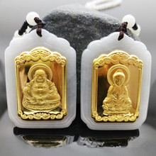 2019 New Design Discount Jade Pendants For Men Women Fashion Couple  Necklaces Buddha Gold Inlaid Jewelry