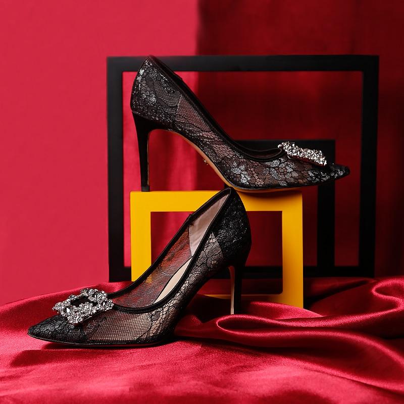 Celebrity Frankrijk Luxe Black Lace Mesh Vierkante Gem Bling Parels Hoge Hak Avondfeest Dames Bruidsmeisjes Sexy Jurk Schoenen - 3