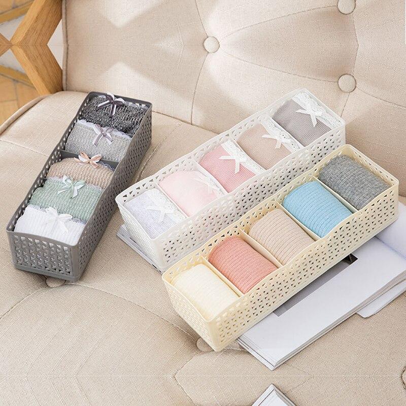 1 Pcs 5 Grids Plastic Storage Box Underwear Bra Socks Drawer Divider Storage Boxes For Kitchen Household Makeup Organizer TSLM2