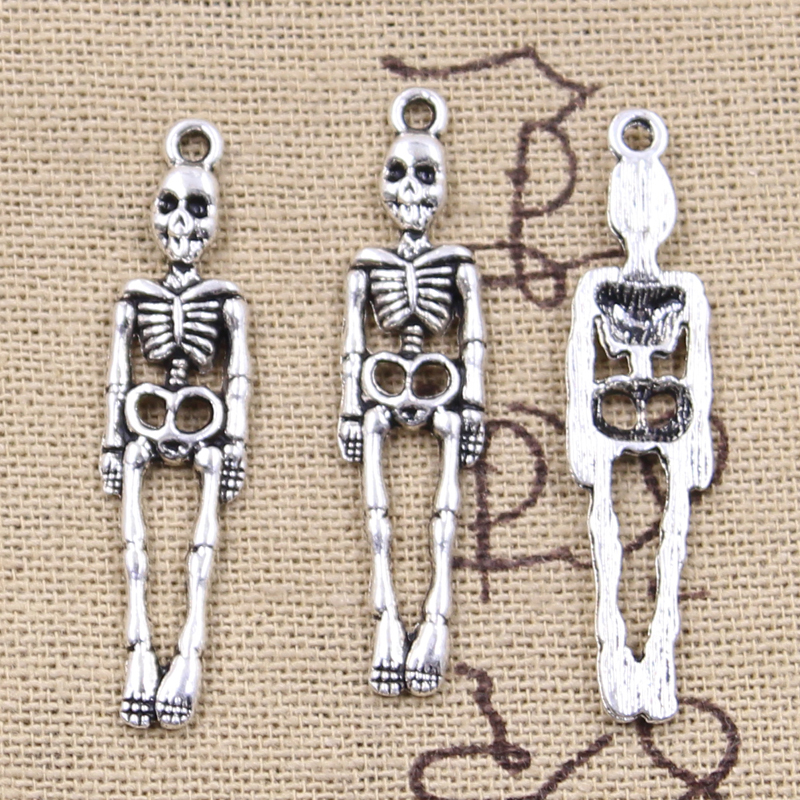 12pcs Charms Skull Skeleton Man 39x9mm Antique Silver Color Plated Pendants Making DIY Handmade Tibetan Finding Jewelry 2