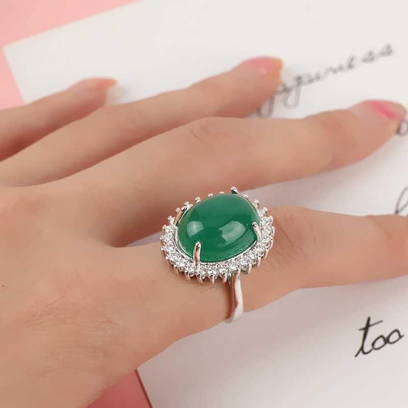 สีเขียว Chalcedony อัญมณีแหวน Turquoise ดอกไม้รูปไข่อาเกตสำหรับผู้หญิงหยก anillos de bizuteria