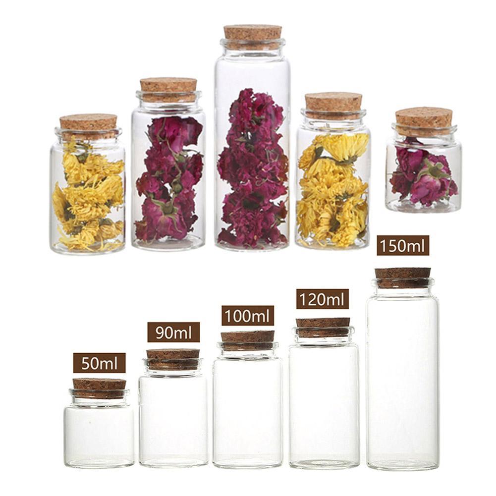 3Pcs 50/60/90/100/120/150ml Transparent Cork Stopper Glass Bottles Jar Vials