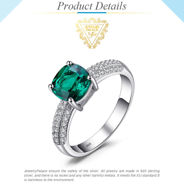 H61b30fff11b14194b8329f2d33c1642eu JewelryPalace Cushion Created Nano Emerald Ring 925 Sterling Silver Rings for Women Engagement Ring Silver 925 Gemstones Jewelry