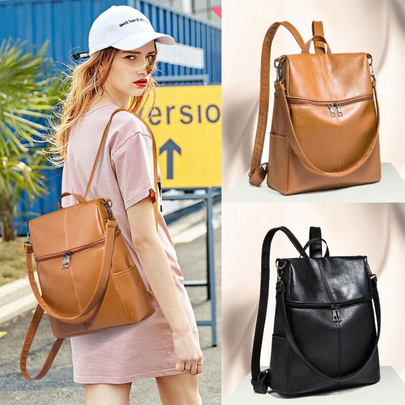 Women's PU Leather Backpack Anti-Theft Rucksack School Shoulder Bags Black Brown
