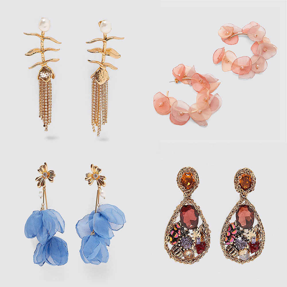 Best lady Za 2019 New Shell Metal Maxi Vintage Drop Dangle Earrings for Women Trendy Pendant Earring Wholesale Wedding Jewelry