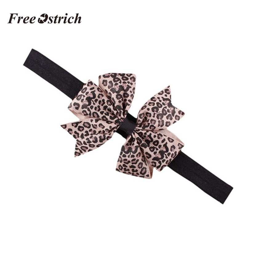 Free Ostrich Lovely Sweet Children's Elastic Force Hair Band Princess Baby Girl Round Dot Bowknot Leopard Hairband 909