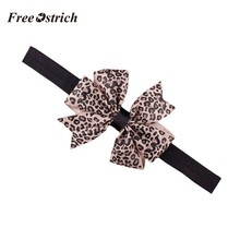 Free Ostrich Lovely Sweet Children's Elastic Force Hair Band Princess Baby Girl Round Dot Bowknot Leopard Hairband 909(China)
