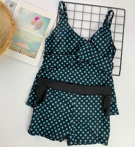 Image 5 - Women Dots Tankini Plus Size Swimwear Push up Two piece Swimsuit with Shorts High waist Bathing Suit 2XL Polka Print Beachwear