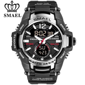 SMAEL 2020 mężczyźni zegarki moda Sport super fajne LED cyfrowy zegarek kwarcowy 50M zegarek wodoodporny męski zegar Relogio Masculino tanie i dobre opinie 22cm Podwójny Wyświetlacz QUARTZ 5Bar Klamra Z tworzywa sztucznego 18mm Akrylowe Kwarcowe Zegarki Na Rękę Nie pakiet