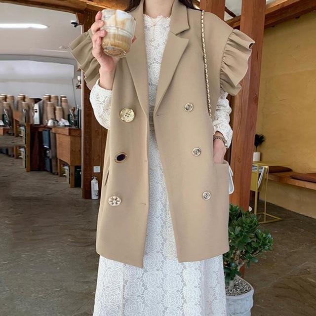 [EWQ] 2020 Summer New Ruffles Turn-down Collar Loose Khaki Vest Office Lady Elegant Simple Ladies Jacket Chic Top Women Coats 1
