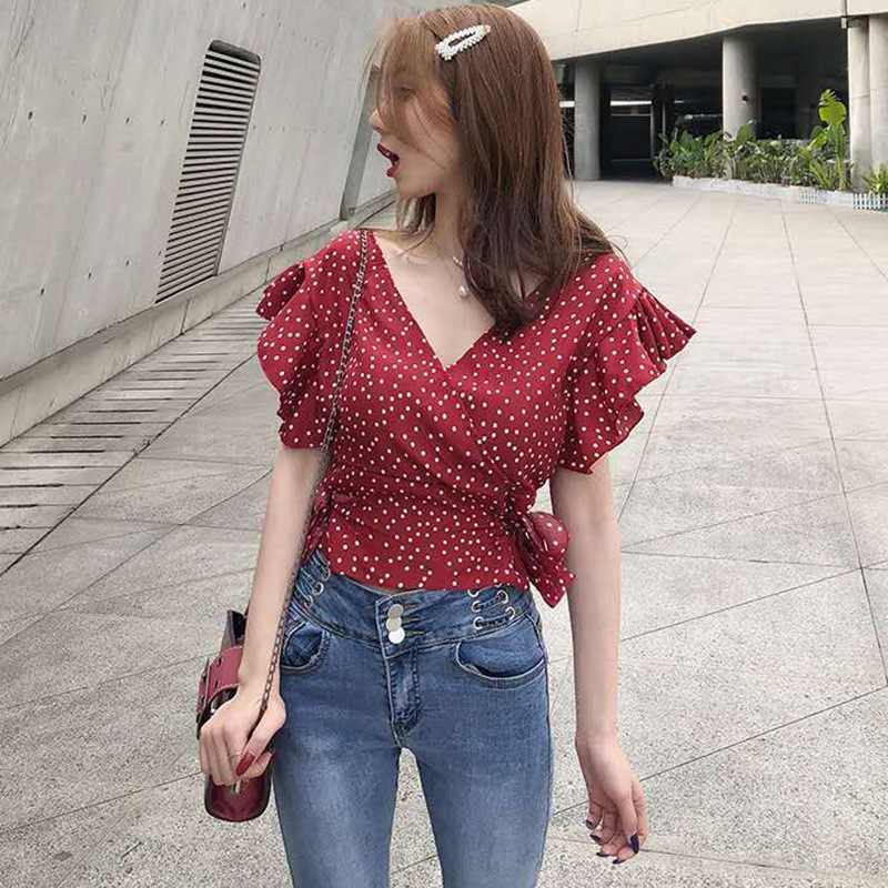 Ruches Chiffon Blouse Vrouwen Dot Print V-hals Shirts Korte Mouw Lace Up Blouse Top Groothandel