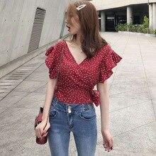 Ruffles Chiffon Blouse Women Dot Print V-Neck Shirts Short S