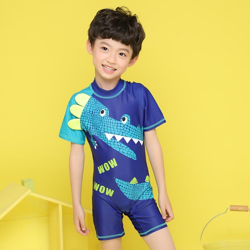 New Style KID'S Swimwear BOY'S One-piece Hooded Crocodile Quick-Dry Sun-resistant Tour Big Boy Bathing Suit Cartoon Bathing Suit