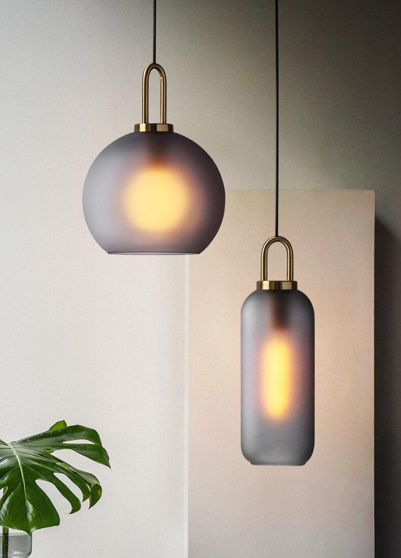 Lampe de décoration de maison en verre de boule de lumière de Loft nordique avec E27, lumières pendantes de boule en verre, lumières de salle à manger d'or 20 cm, 25 cm, 30cm