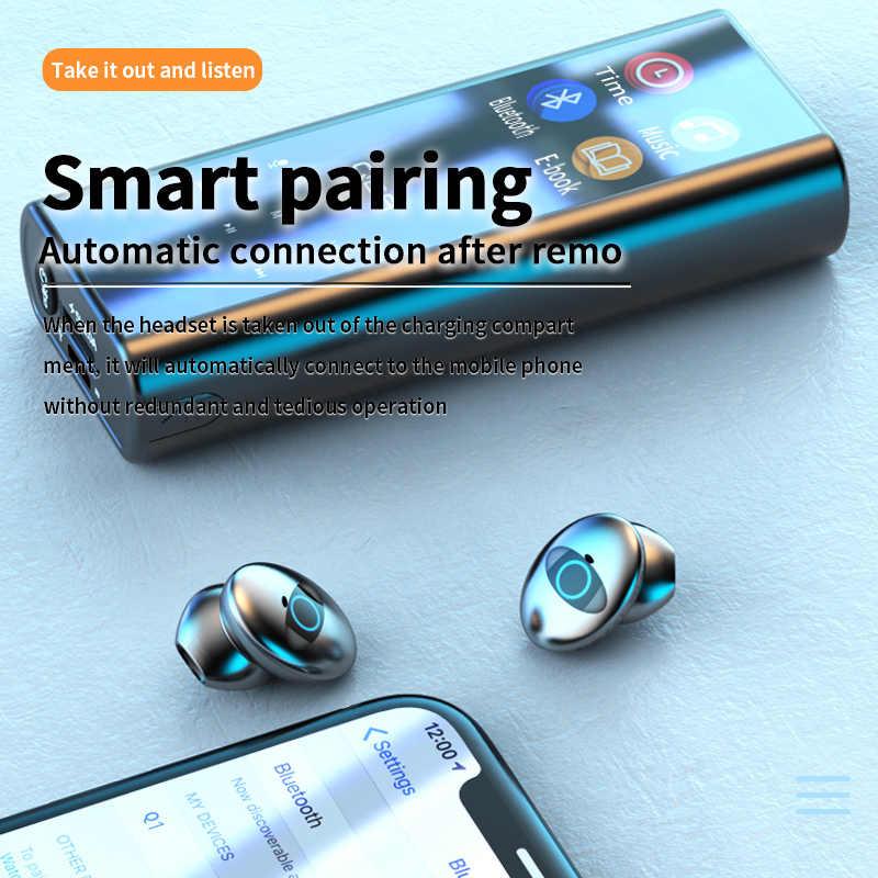 Qcr Q1 Draadloze Bluetooth Oortelefoon Oordopjes Multifunctionele MP3 Speler Oordopjes IPX7 Waterdichte 9D Tws Oortelefoon 6000Mah Power bank